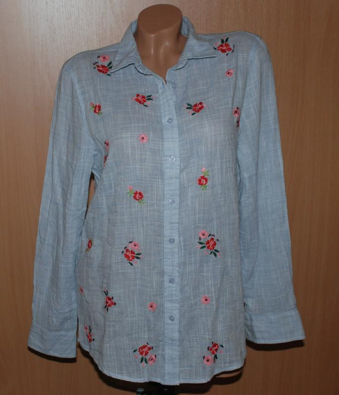 Рубашка бренда marks & spencer  / с вышивкой спереди / 100%хло...