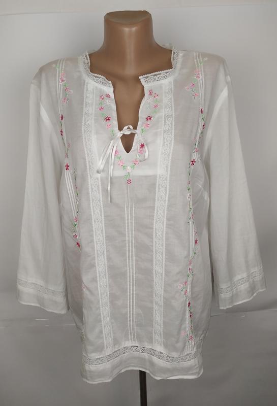 Блуза рубаха красивая белая хлопковая вышивка кружево next uk ...