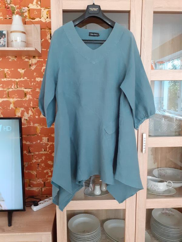 Асимметричное льняное платье туника большого размера италия