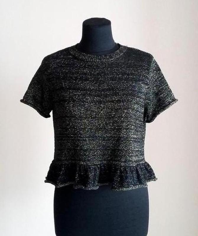 Нарядная блуза топ с люрексом и оборкой оверсайз