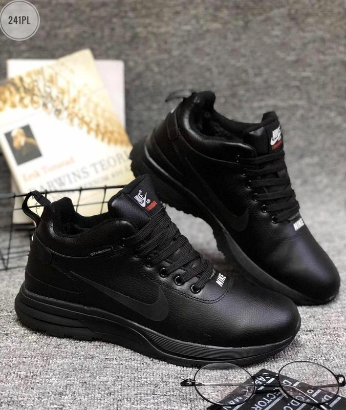 ❄️nike air lunar black winter❄️мужские зимние чёрные кроссовки...