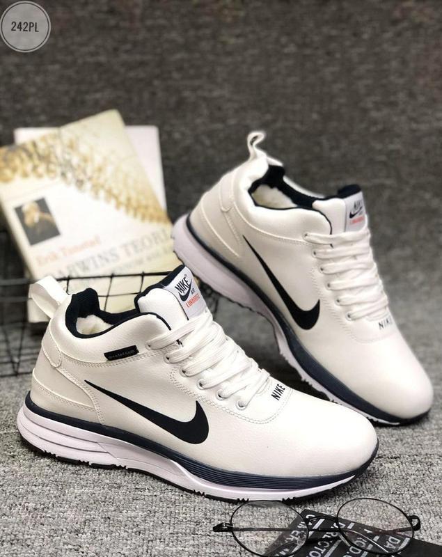 ❄️nike air lunar white winter❄️мужские зимние белые кроссовки ...