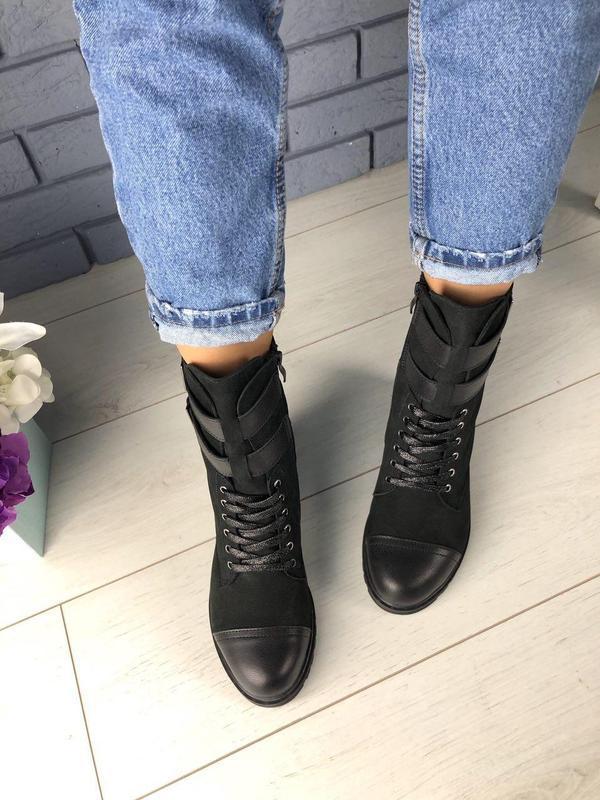 Зимние женские черные ботинки, кожа и нубук - Фото 2