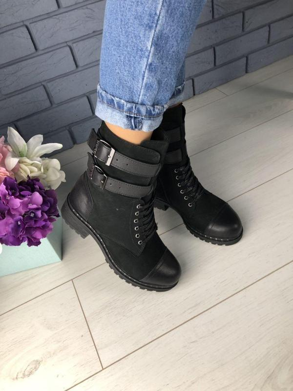 Зимние женские черные ботинки, кожа и нубук - Фото 3