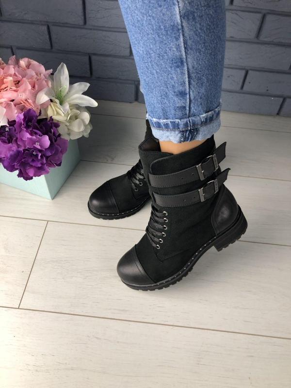Зимние женские черные ботинки, кожа и нубук - Фото 4