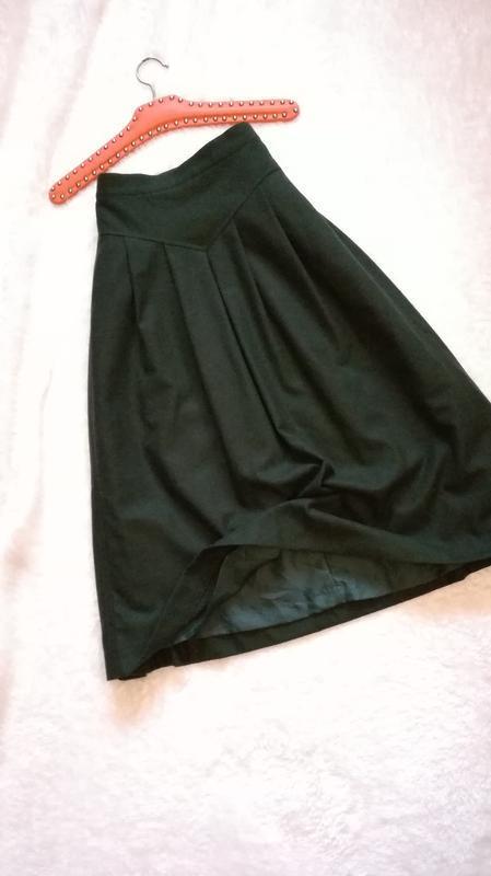 Юбка миди из шерсти зеленого цвета батал большой размер