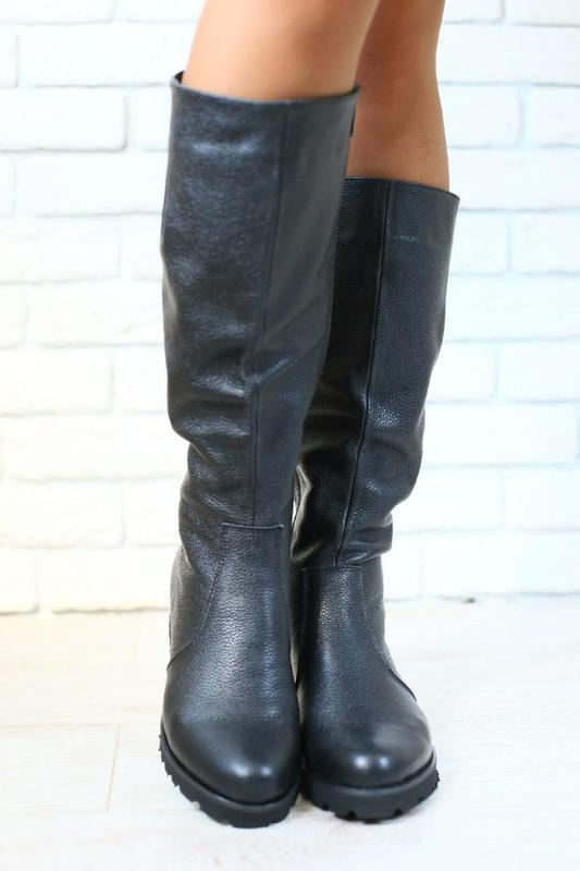 Женские демисезонные сапоги, кожаные, на байке, черные, низкий...