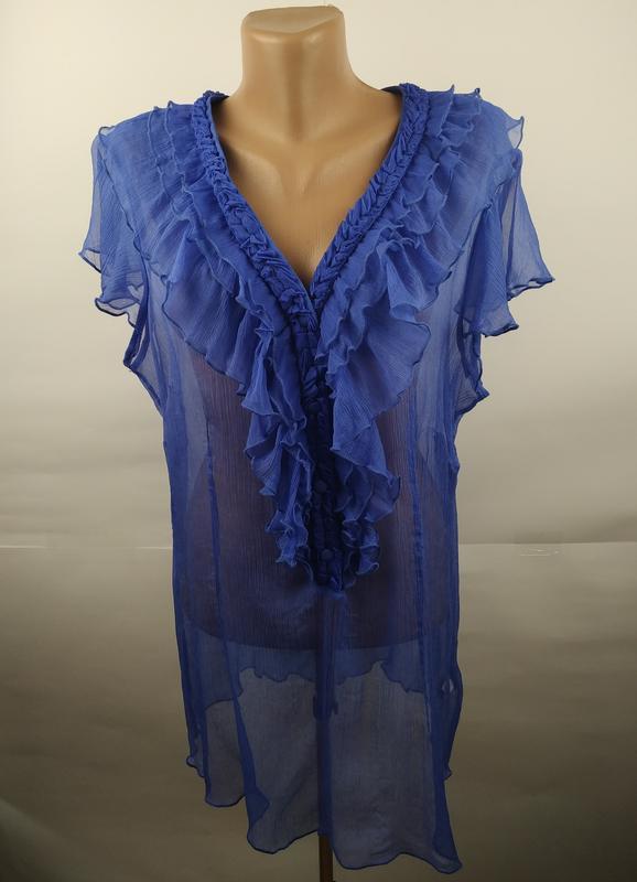Блуза легкая голубая шелковая с рюшами большой размер uk 20/48...