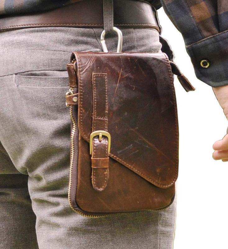 Кожаная оригинальная поясная сумка-кошелек_поясной органайзер