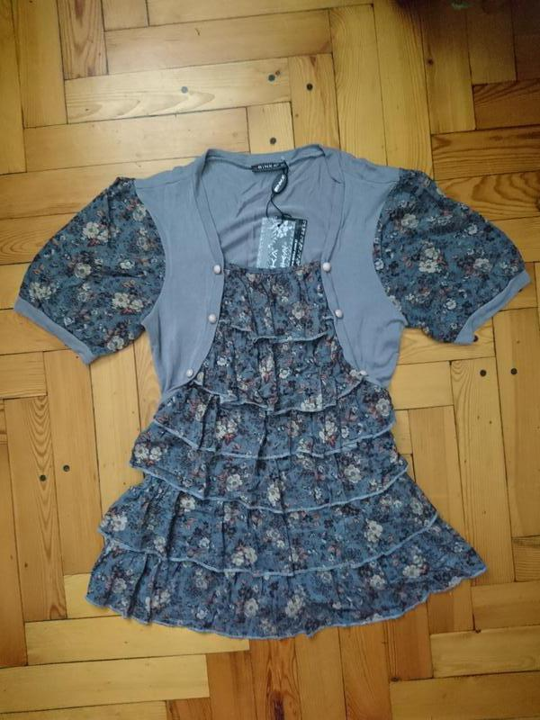 Оригинальная футболка с рюшами_туника_блуза_цветочный принт_р....