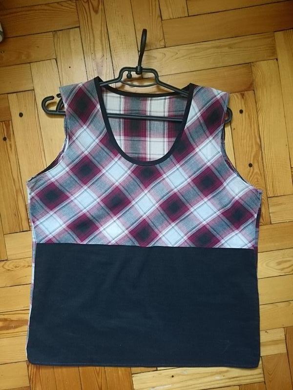 Хлопковый летний комплект двойка-рубашка и майка_принт клетка_...