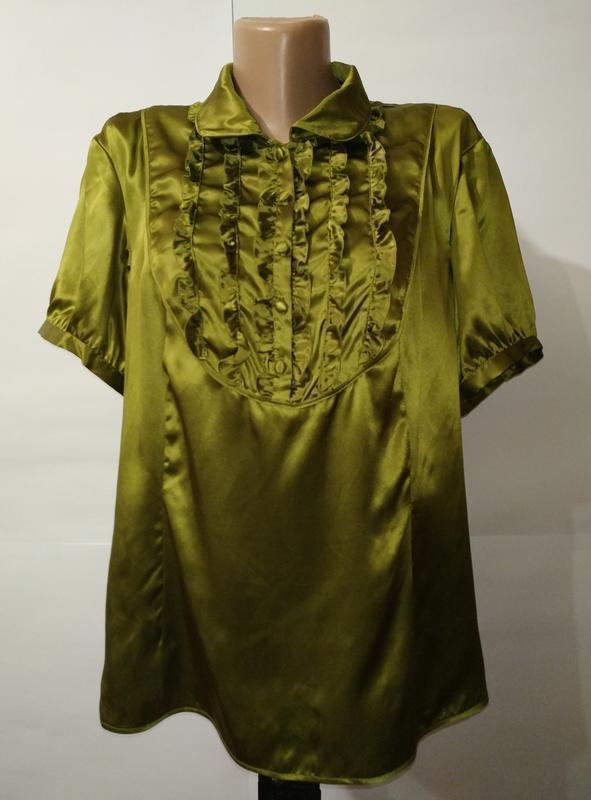Блуза шикарная натуральная шелковая с рюшами большой размер mo...