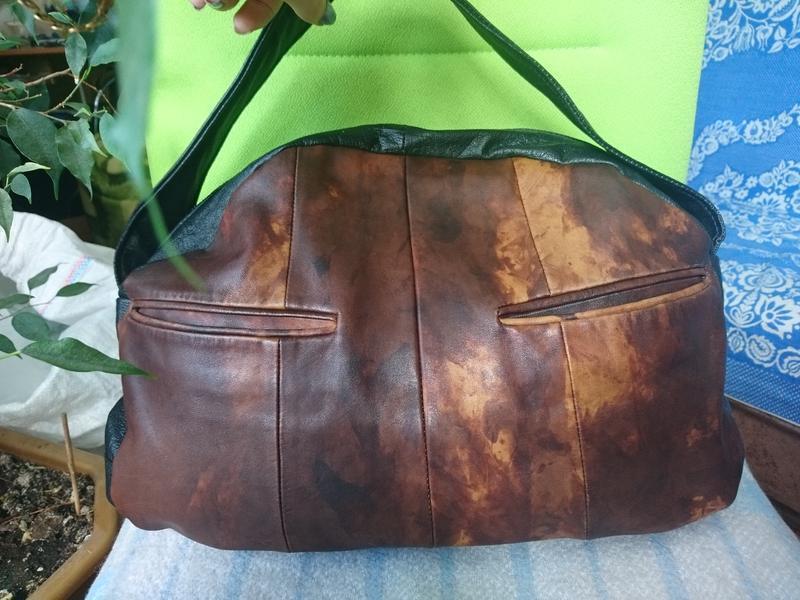 Большая кожаная сумка-мешок_сумка-чемоданчик