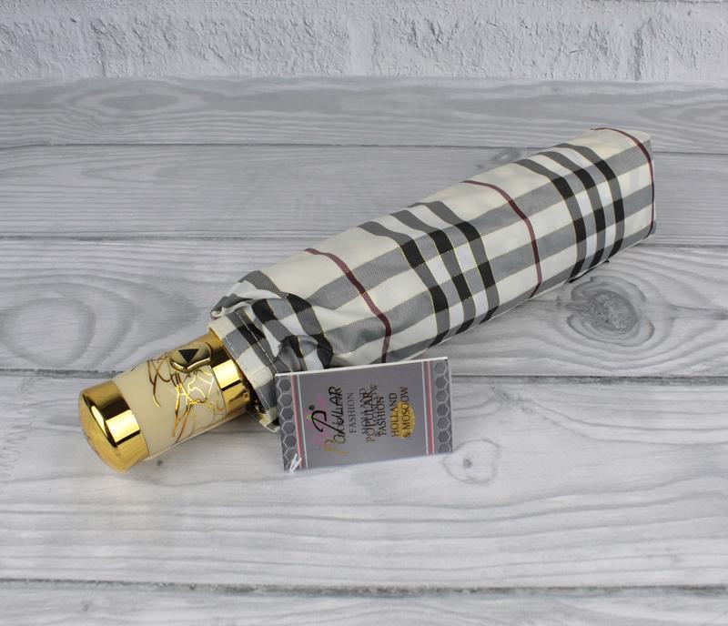 Качественный складной зонт полуавтомат popular 1227-1p бежевый...