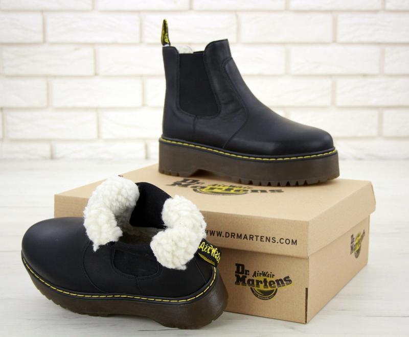 Ботинки черные dr martens platform chelsea (зима)