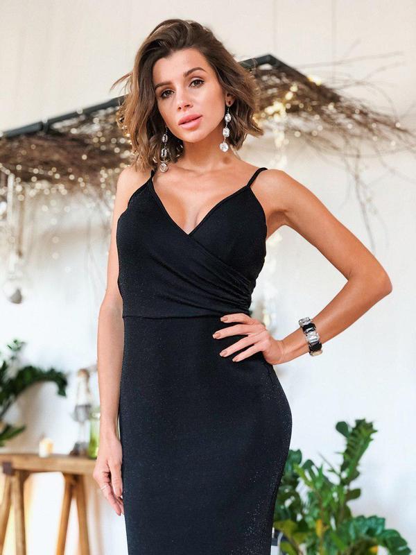 Черное платье макси / вечернее / на новый год