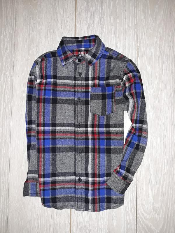 Яркая, тёплая рубашка f&f на 5-6 лет