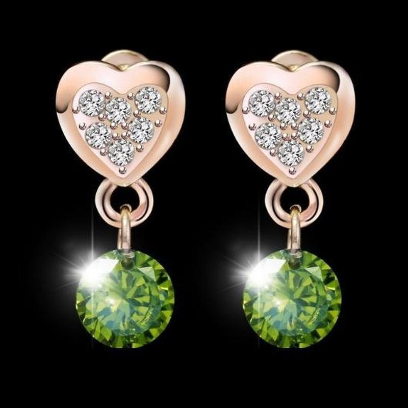 🏵золочённые ювелирные серьги с кристаллами сердце, новые! арт....