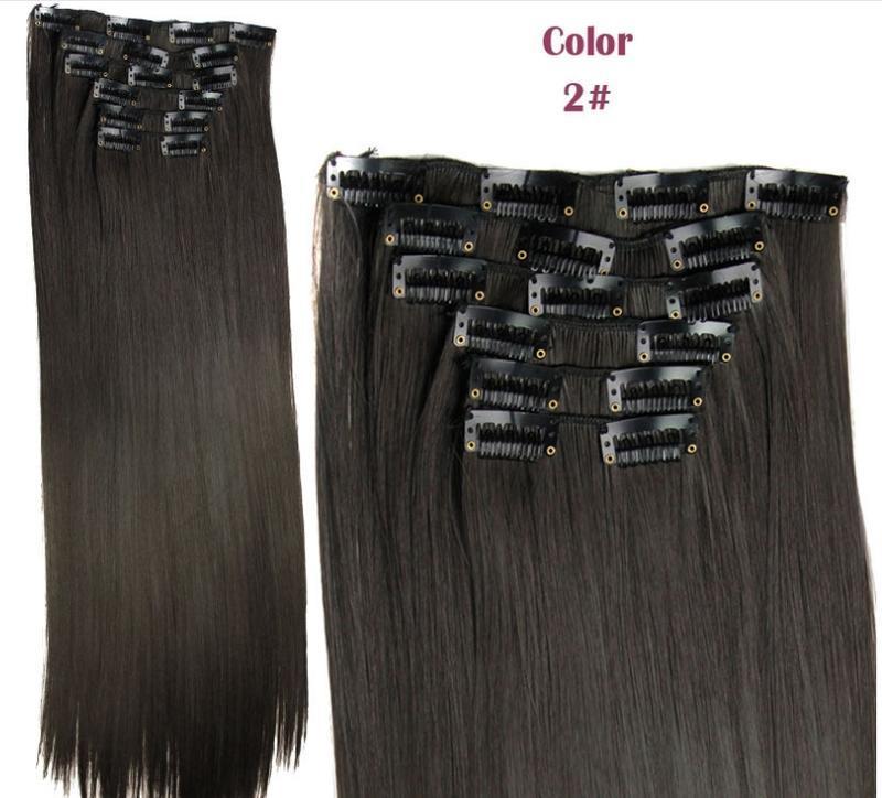 Трессы набор прямые темно-коричневый №2 6231 волосы на заколках