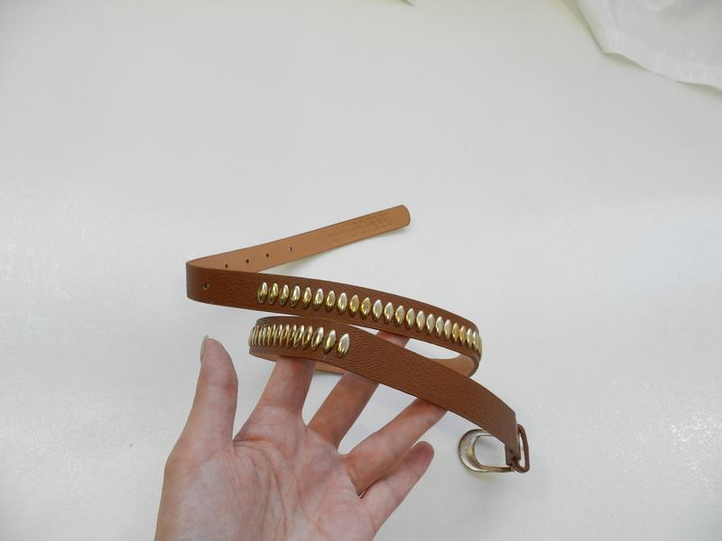 ✅ пояс ремень кожзам с золотистыми заклёпками