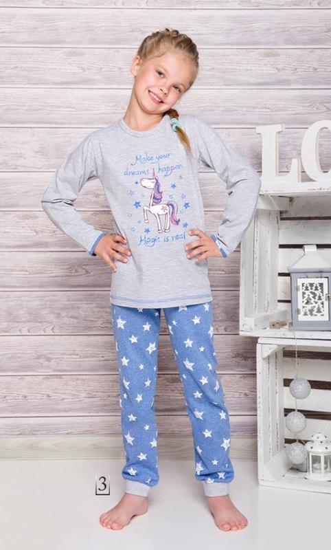 Хлопковая пижама для девочки taro  с единорогом
