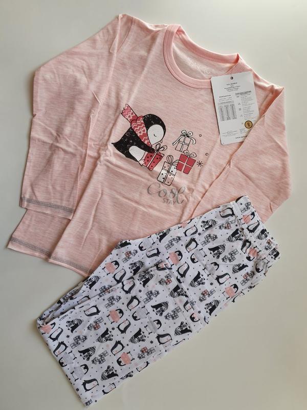 Хлопковая пижама для девочки taro с пингвинами