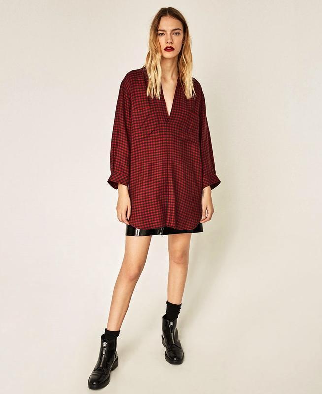 Zara фланелевая рубашка в клетку