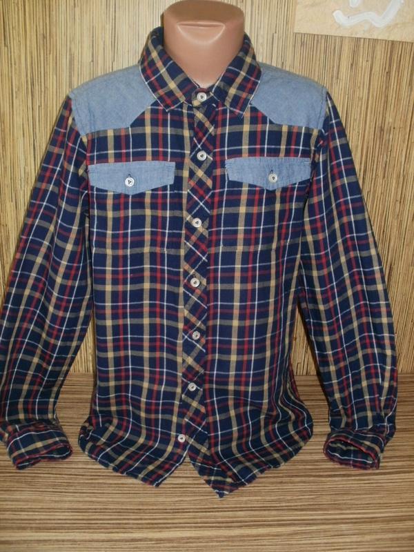 Рубашка в клетку на 11-12 лет