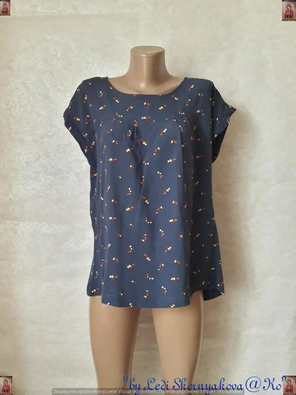 Фирменная next вискозаня нарядная блуза в синем цвете в мелкий...