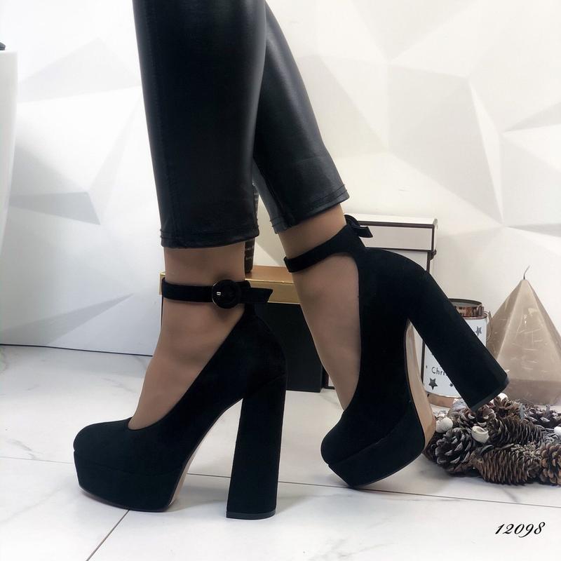 ❤ женские черные туфли на высоком толстом каблуке  ❤