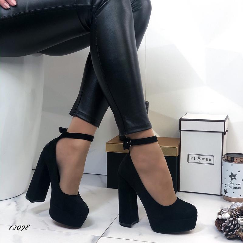 ❤ женские черные туфли на высоком толстом каблуке  ❤ - Фото 3