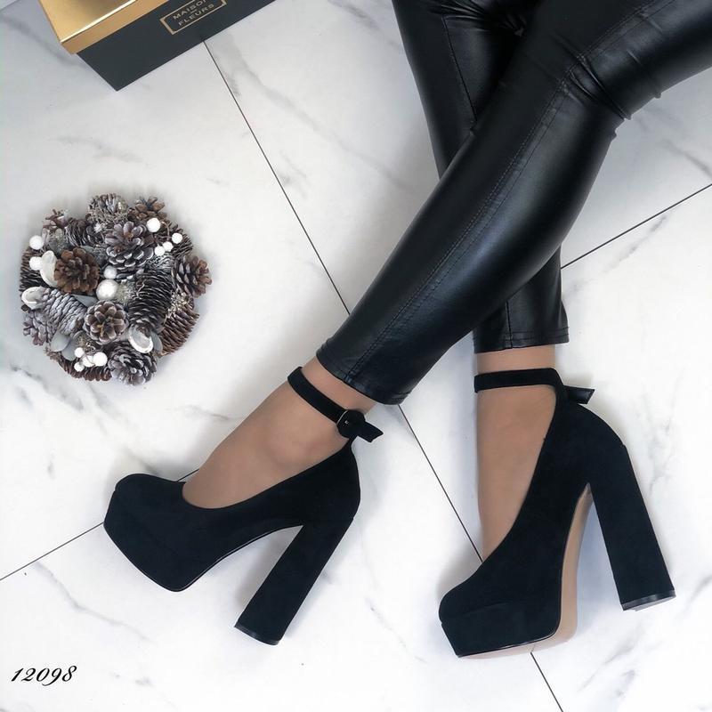 ❤ женские черные туфли на высоком толстом каблуке  ❤ - Фото 4