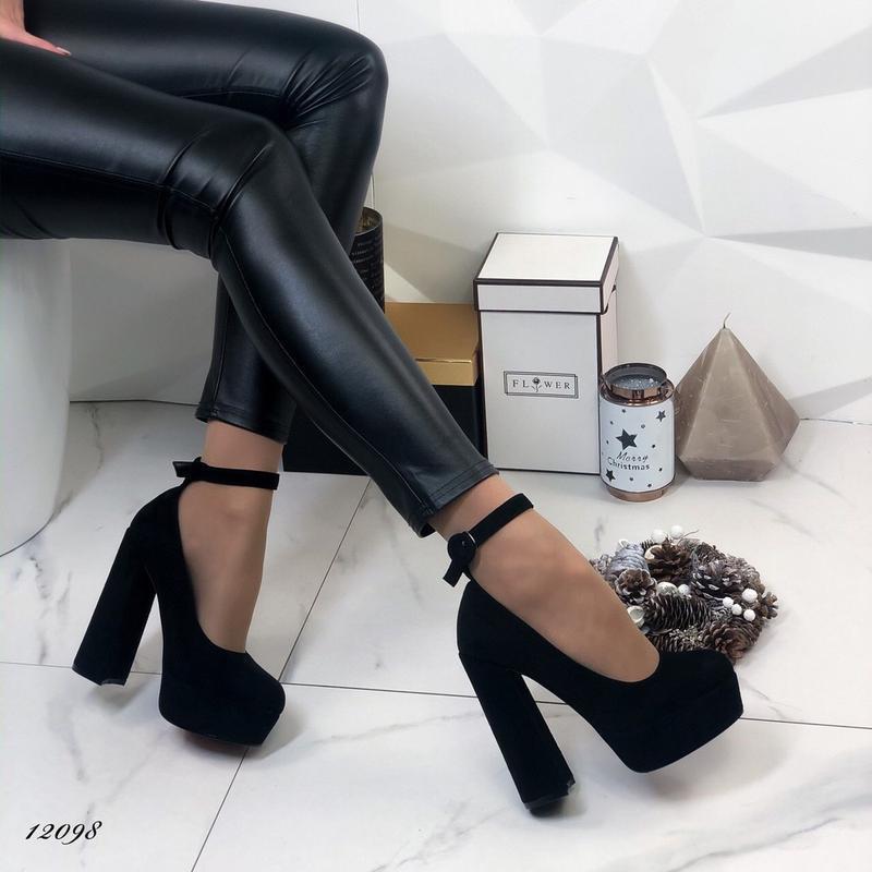 ❤ женские черные туфли на высоком толстом каблуке  ❤ - Фото 5
