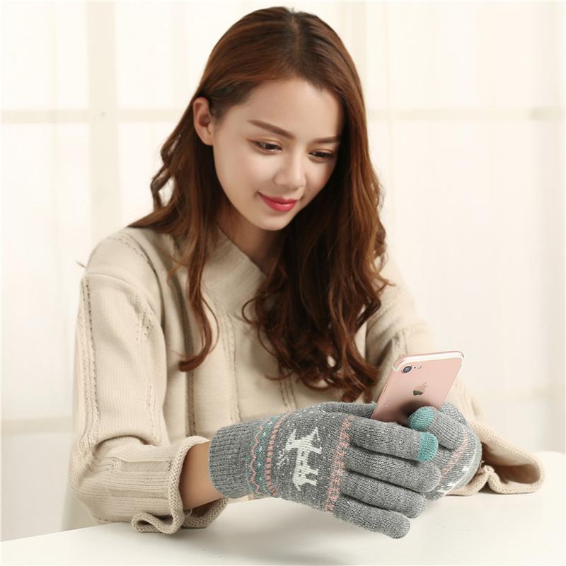 7-3 теплые перчатки touch screen с оленями рукавички