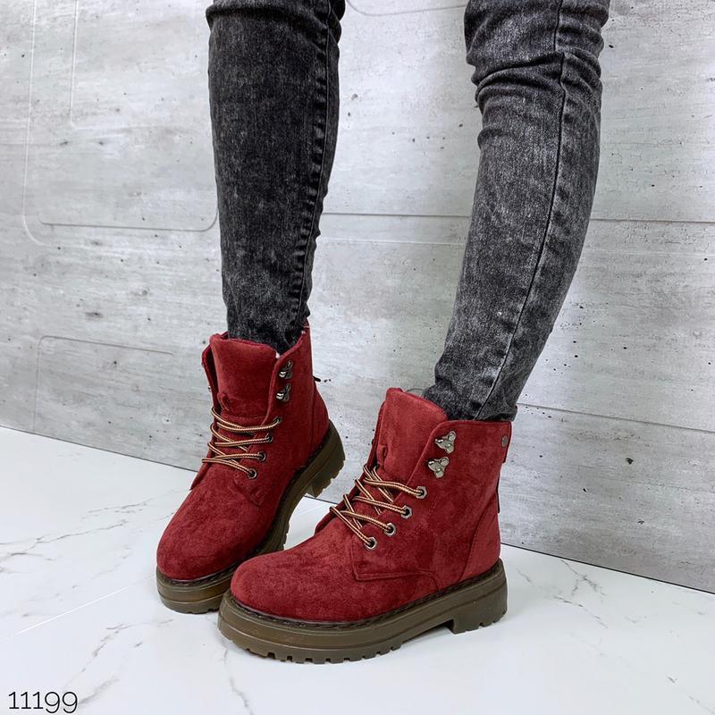 Зимние замшевые ботинки красного цвета,зимние красные ботинки ...