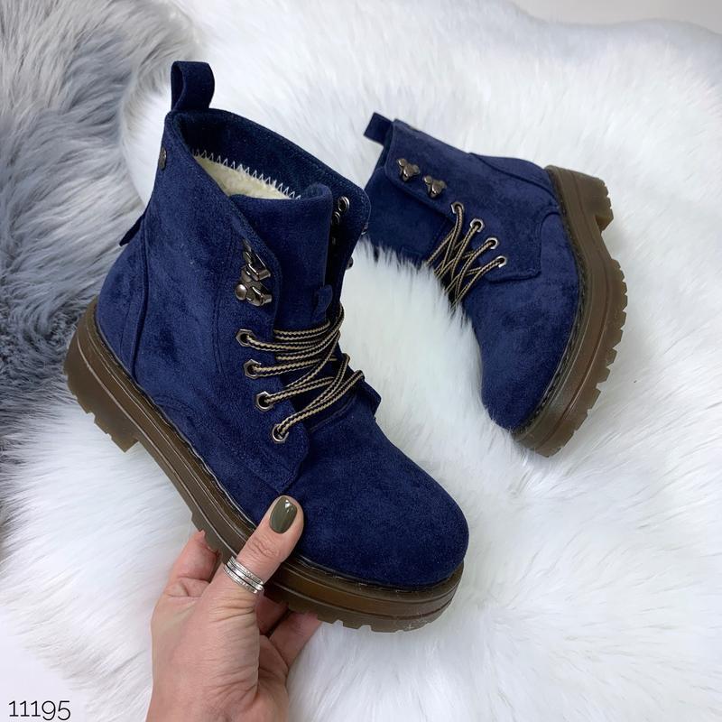 Зимние замшевые ботинки синего цвета, зимние синие ботинки на ...