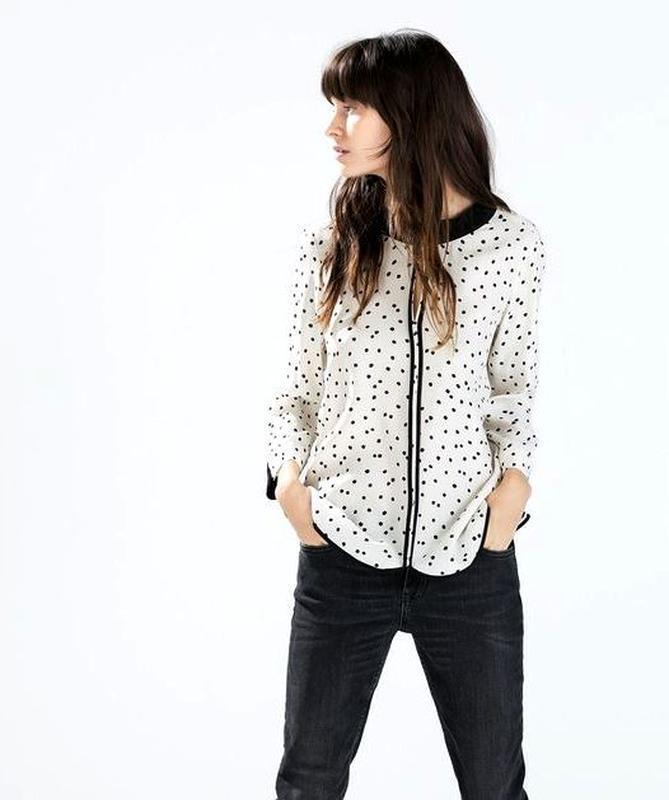 Zara блуза с контрастными деталями