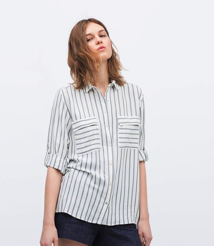 Zara рубашка в полоску с накладными карманами