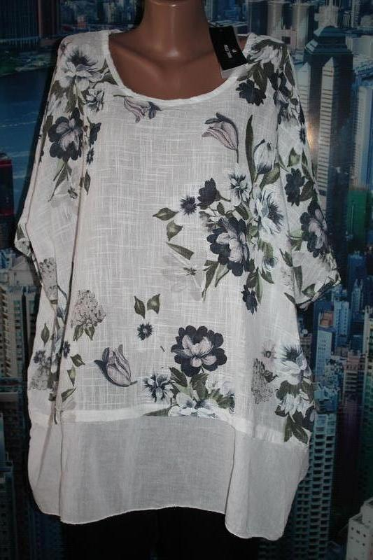 Натуральная блуза батал  100% котон