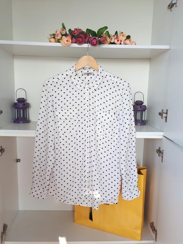 Хлопковая блузка рубашка  принт звездочки m&s