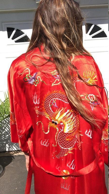 Роскошный красный шелковый халат кимоно, натуральный шёлк, шел...