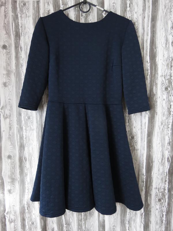 Платье с длинным рукавом синего цвета размер 46-48  большой вы...