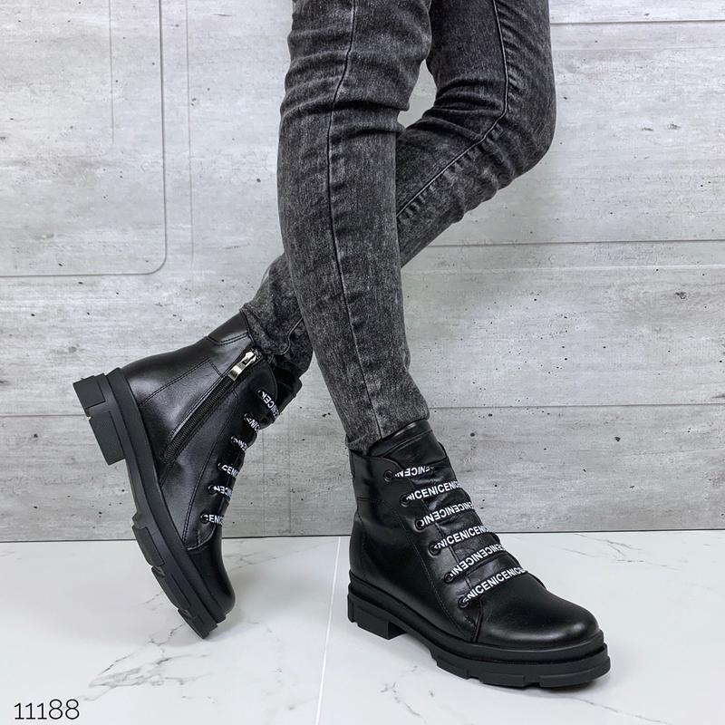 Крутые зимние ботинки из натуральной кожи,шикарные чёрные кожа...