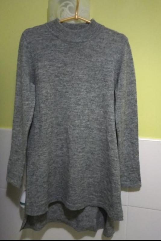 Серый свитер туника h&m в составе шерсть