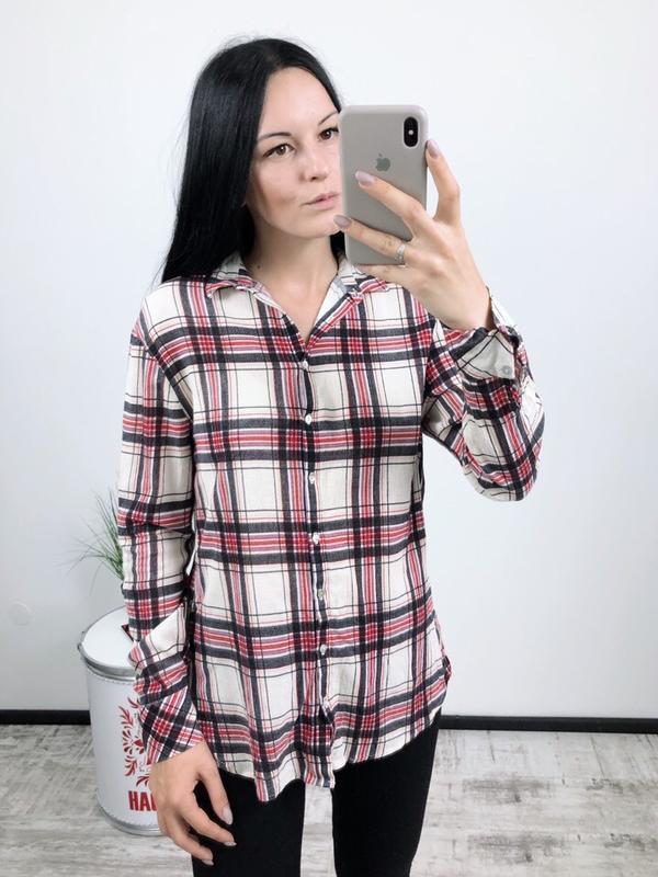 Рубашка в клетку котоновая котон zara
