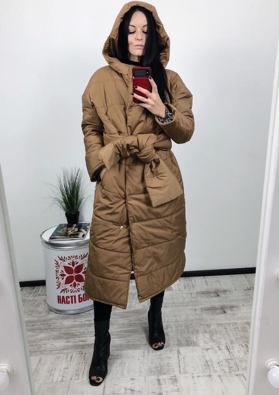 Куртка пухан оверсайз трансформер зима под пояс одеяло