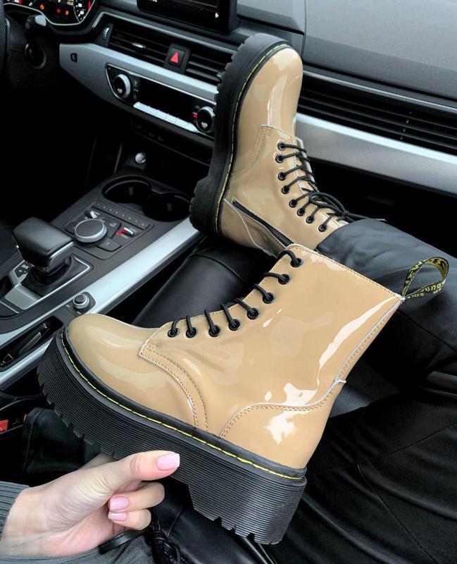 Женские зимние кожаные ботинки/ сапоги dr. martens jadon beige...