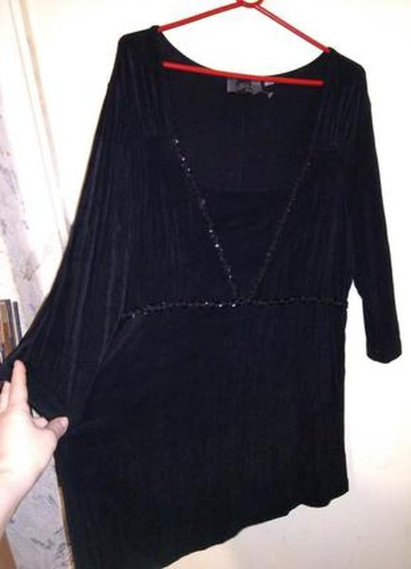 Супер стрейч,трикотажная,чёрная блуза с шнуром и пайетками,бол...