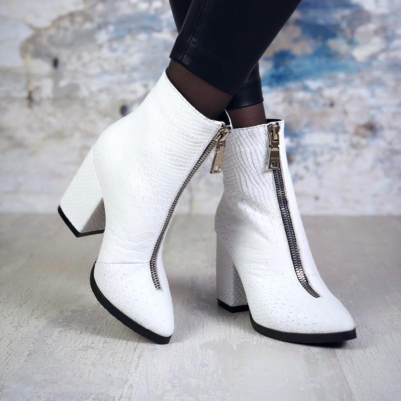 ❤ женские белые осенние демисезонные кожаные ботинки полусапож...