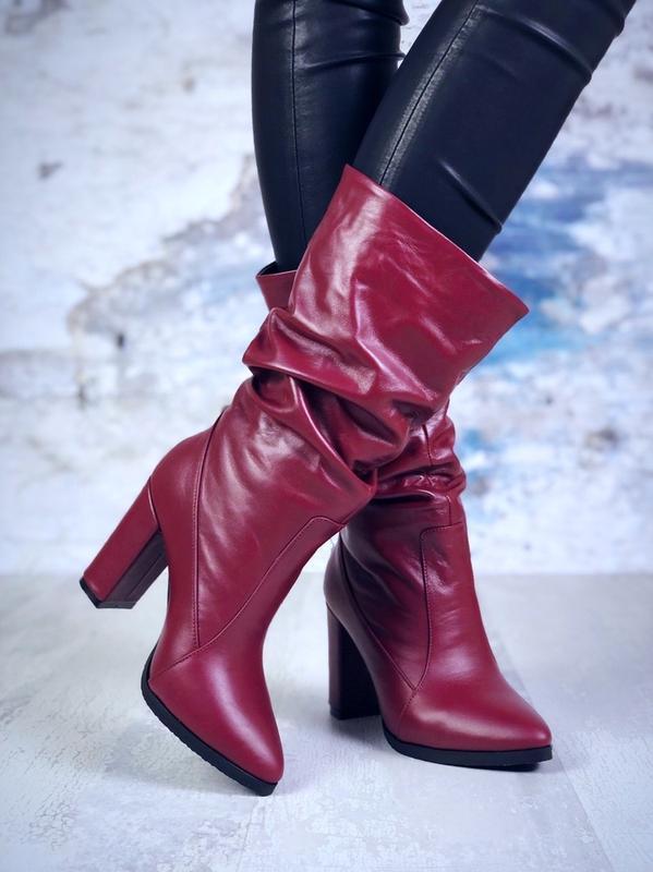 ❤ женские бордовые осенние кожаные ботинки сапоги полусапожки ...